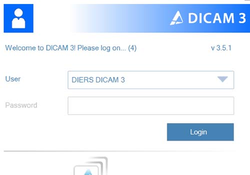DICAM 3: Different user accounts with password protection